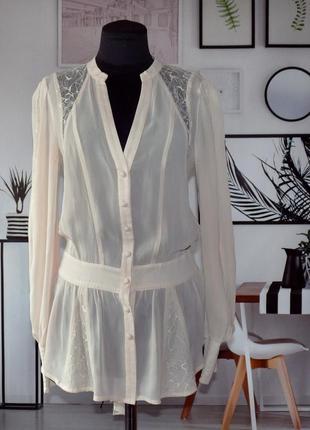 Блуза шифоновая шелковая с кружевными вставками warehouse