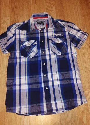 Рубашка на мальчика с коротким рукавом в клетку