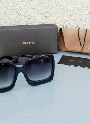 Tom ford очки женские солнцезащитные большие черные с градиентом3 фото