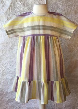 Платье в полоску хлопок на 2-3 годика
