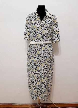 Стильное модное трендовое платье в нежный цветочный принт большого размера