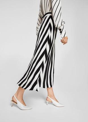 Шифоновая ассиметричная юбка миди в полоску полосатая с разрезом mango оригинал