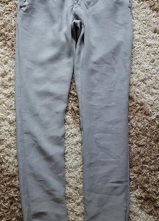 Легкие льняные брюки zara slim