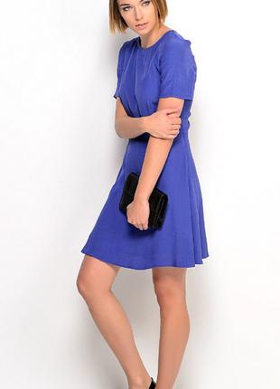 Брендовое синее вечернее миди платье с вырезом на спине mango турция этикетка