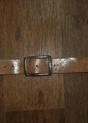 Ремень пояс натуральная кожа с серебряным напылением италия