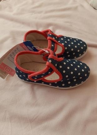 Летние туфли-тапочки  для девочки. 24 размер, 15см стелька