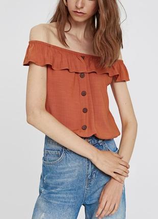 Топ блуза с воланом и пуговицами от lc waikiki