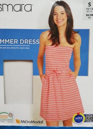 Лёгкое летнее платье сарафан бандо с открытыми плечами и карманами esmara