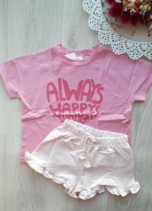 Розовая футболка оверсайз zara, 3-4г, 4-5л.