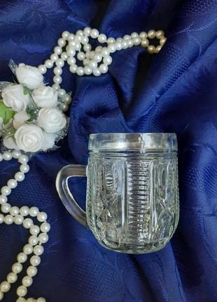 Кружка пивная малая ссср виниаж литое стекло клеймо львов винтаж