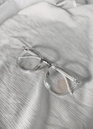 Имиджевые прозрачные белые очки с покрытием антиблик