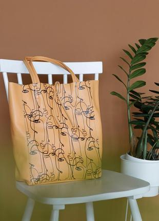 Итальянская летняя кожаная сумка шоппер с орнаментом, borse in pelle италия