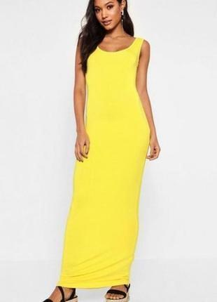 Желтое платье майка в пол на пышную девушку