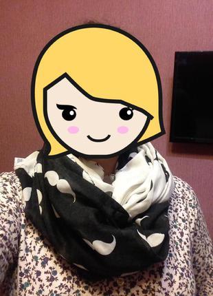 Легкий шарф снуд с усами