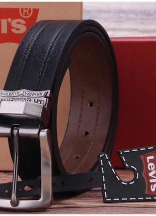 Мужской ремень levis на подарок двусторонний чёрный / коричневый  / подарочный набор