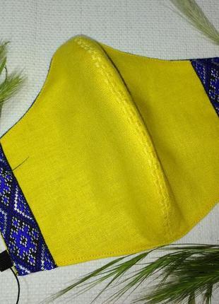 Маска защитная многоразовая тканевая льняная с вышивкой