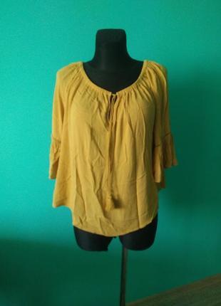 Блуза блузка горчица с рукавом