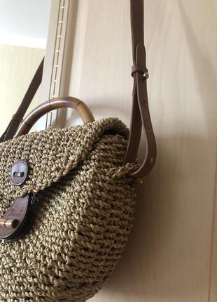 Трендовая эко соломенная сумка, джут, натуральная кожа солома ротанг этно стиль