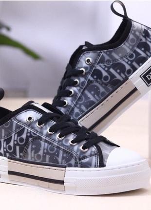 Кеды dior b23 low top sneakers black чёрные