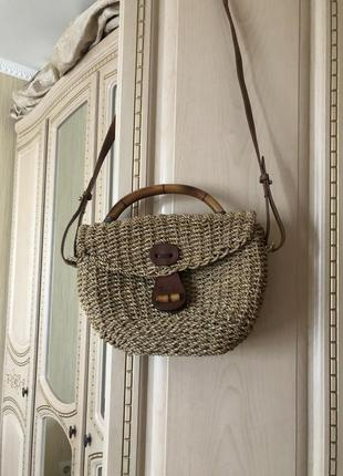 Трендовая эко соломенная сумка, джутовая натуральная кожа солома ротанг бамбук этно стиль