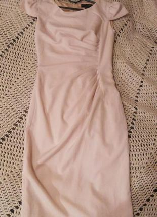 Прекрасное платье в официальном стиле  кремово-розового цвета