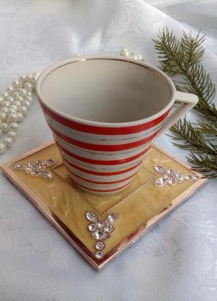 Подставка под горячее (чашку, свечу) металлическая в эмали стразы винтаж