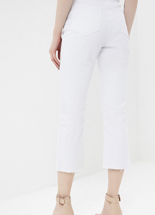 Sale белые качественные плотные укороченные джинсы на высокой посадке lost ink