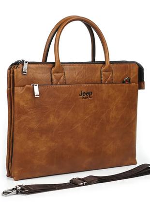 """Мужской портфель сумка для ноутбука 15"""" и документов а4 jeep buluo (jb8862-3) коричневый"""