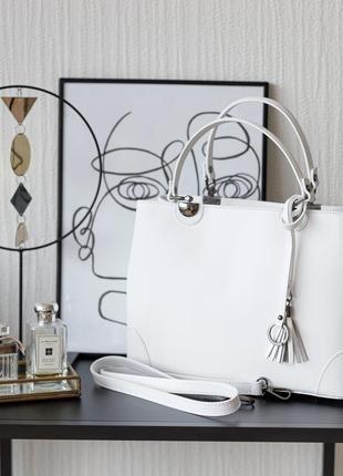 Итальянская летняя белая деловая кожаная сумка, vera pelle италия