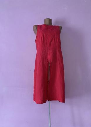 Шикарная эксклюзивная блуза льняная красная удлинённая с разрезами