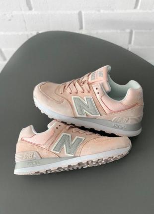Шикарные женские замшевые кроссовки new balance 574 ◈ кеды ◈ пудрового цвета 😍