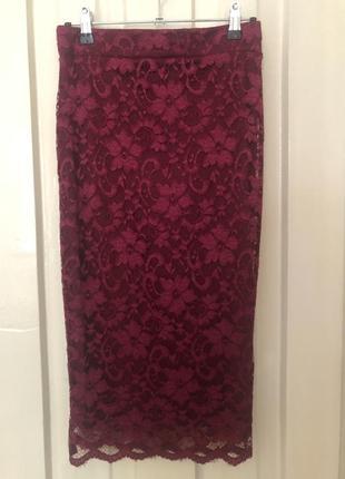 Кружевная юбка карандаш винного цвета (марсала)