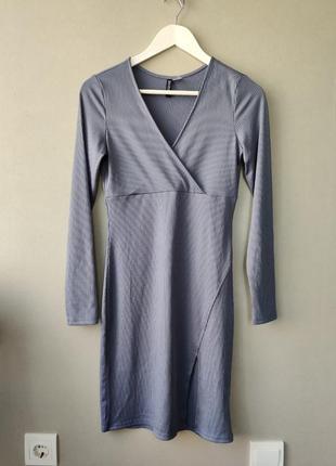 Платье миди в рубчик  , платье h&m , zara
