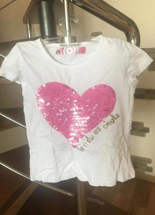 Супер классная футболка на девочку 4 5 6 лет котоновая с сердечком италия