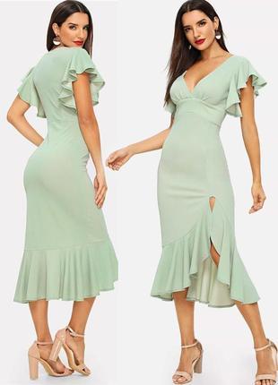 Распродажа ассимметричное платье миди с обркой и разрезом c asos