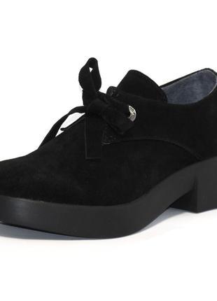 Туфли натуральная замша низкий каблук