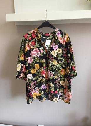 Легкая цветочная блуза-оверсайз