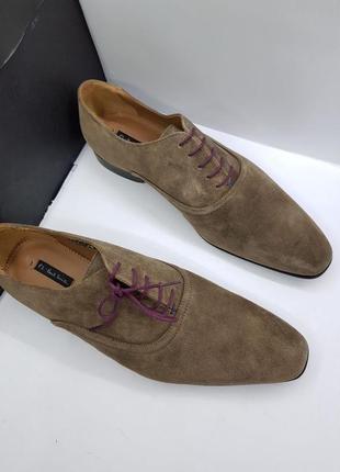 Мужские серые летние замшевые туфли оксфорды ручной работы от компании paul smit
