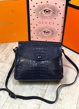 Кожаная женская сумка скидка синяя