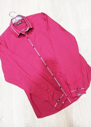 Рубашка бордовая m 48 в идеальном состоянии рукав длинный