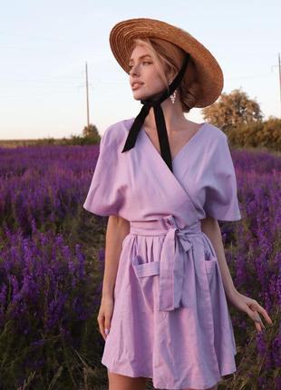 Распродажа лиловое льняной платье