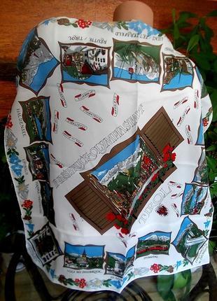 Коллекционный винтажный платок памятки австрии made in  italy