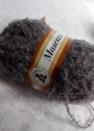 Máscara пряжа (шерсть)  букле нить для вязания серый 50 гр