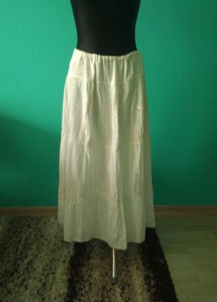 Юбка спідниця довга біла з вишивкою