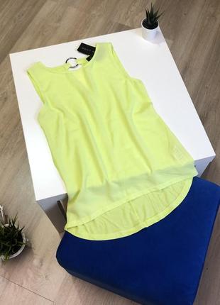 Лимонная блуза летняя с кольцом на спине без рукавов