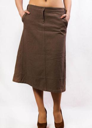 Юбка женская теплая светло-коричневая benetton (42) (m)