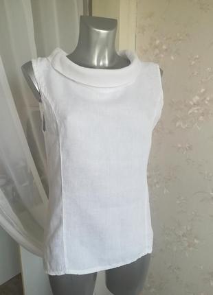 💥скидка💥дизайнерская белоснежная льняная блуза
