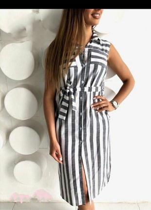 Платье рубашка, лен, размер м