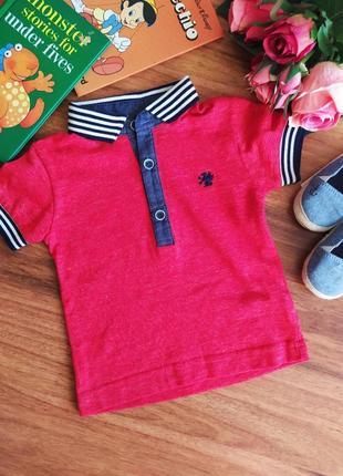 Стильная трикотажная футболка, тенниска на парнишку next 3-6 месяцев.
