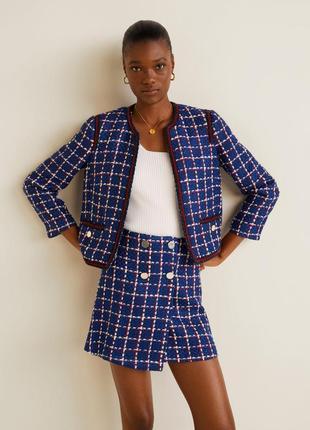 Новая мини юбка твидовая италия міні спідниця mango